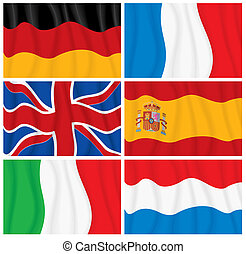 Set of Waving European Flags.