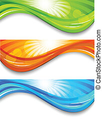 Set of wavy banners. Abstract colorful illustration