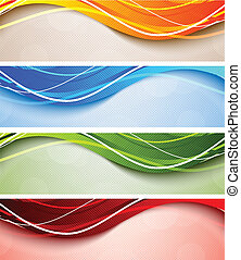 Set of wavy banners - Set of abstract wavy banners in bright...