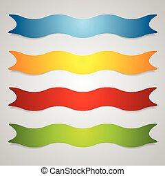 Set of wavy label ribbons