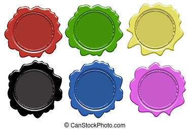 Set of wax seals (gradient only) 6 colors, vector...