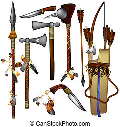 set of weapons American Indian - weapons used in ancient ...