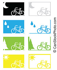 Set of weather cycling icons and backgrounds