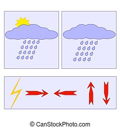 Set of weather forecast icons. Arrows. Vector illustration.