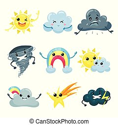 Set of weather forecast icons with funny faces. Cartoon sun, cute rainbow, falling star, angry tornado, sad, happy and mad cloud. Flat vector for mobile app or sticker
