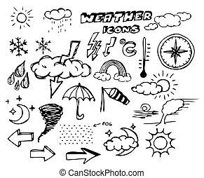 Set of weather hand drawing icons on white