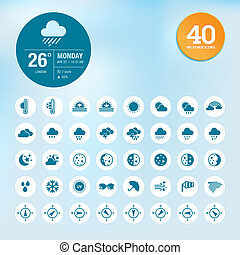 Set of weather icons and widget