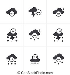 Set of weather message icons