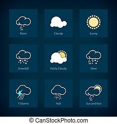 Set of weather symbols, icon rains, icon cloudy, icon sunny, icon snowfall , icon partly cloudy , icon sleet , icon t-storms , icon hail , icon sun and rain , vector illustration
