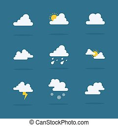 Set of weather vector flat