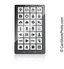 set of web and multimedia icons on a screen of mobile phone