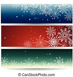 Set of Web banners with snowflakes. Vector illustration