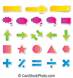 Set of Web Button Sticker - illustration of set of different...
