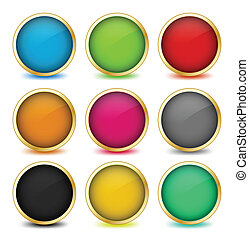 Set of web buttons with golden frames. Vector