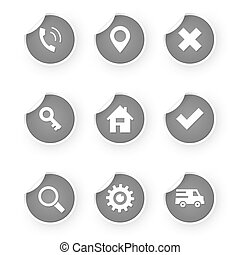set of web icon gray stickers