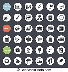 Set of web icons for business, finance and ecology