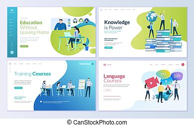 Set of web page design templates for distance education, consulting, training, language courses