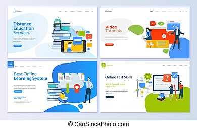Set of web page design templates for distance education, video tutorials, e-learning, online test skills