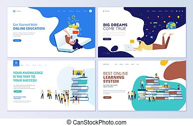 Set of web page design templates for online education, training and courses, learning, video tutorials