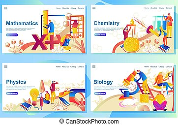 Set of web page design templates for subject in school. mathematics, chemisry, physics and biology.