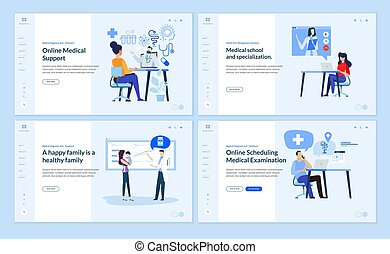 Set of web page design templates on medicine and health care