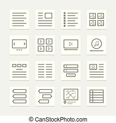 Set of website elements for template