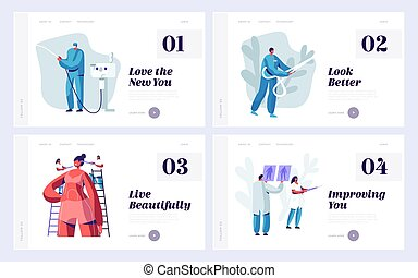 Set of Website Landing Page Templates for Beauty Medical or Plastic Surgery Clinic. Doctor and Patient Working Process, Beauty Medicine Industry Web Page. Cartoon Flat Vector Illustration, Banner