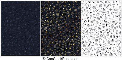 Set of Wedding Backgrounds with hand draw doodle elements. Vector Illustration.