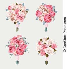 Set of wedding bouquets - Small vector set of wedding...
