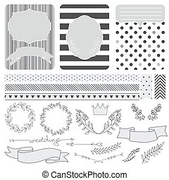 set of wedding card and elements fo