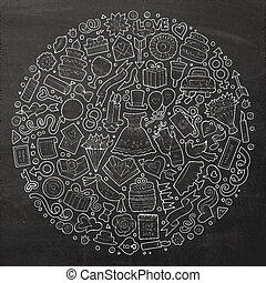 Set of Wedding cartoon doodle objects