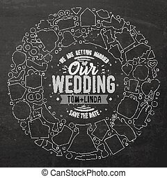 Set of Wedding cartoon doodle objects round frame