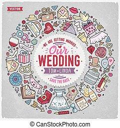 Set of Wedding cartoon doodle objects round frame
