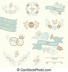 Set of wedding design elements