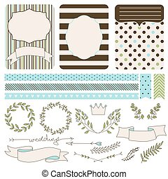 set of wedding elements for design