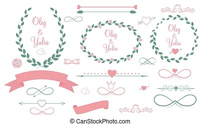 Set of Wedding Graphic Elements with Arrows, Hearts, Laurel,...