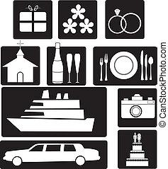 Set of wedding icons - A set of wedding icons and symbols...