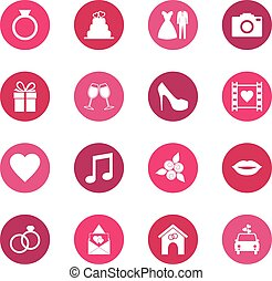 Set of wedding icons on color background, vector illustration
