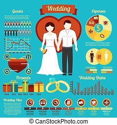 Set of wedding infographics and elements for invitation, presentation, congratulation etc. Vector