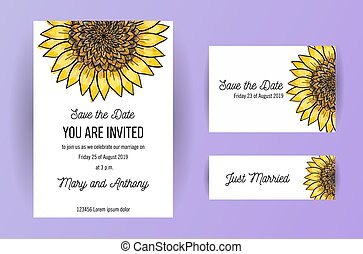 Set Of Wedding Invitation Card Sunflower On The Background 3 In 1 Poster Invitation Greeting Business Card For