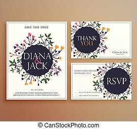 set of wedding invitation card suite with flower decoration