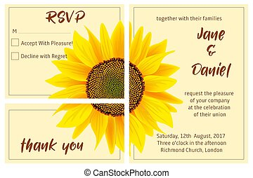 set of wedding invitation card, sunflower on the background