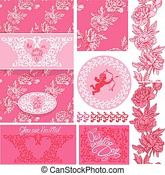 Set of Wedding invitation card with floral elements, frames and borders, flowers, vignette, calligraphic handwritten text, angel on pink background.