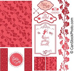 Set of Wedding invitation card with