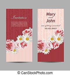 Set of wedding invitation cards design.