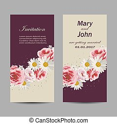 Set of wedding invitation cards design.