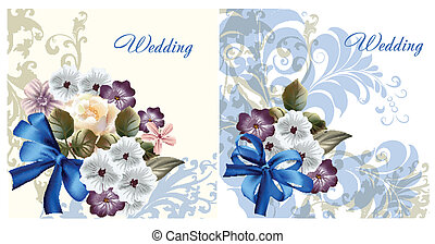 Set of wedding invitation cards for
