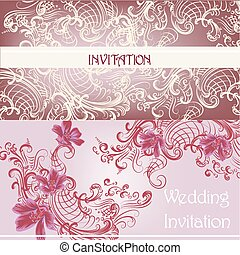 Set of wedding invitation cards in