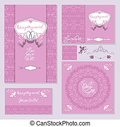 Set of Wedding invitation cards with floral elements, angels, we