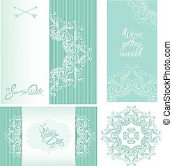 Set of Wedding invitation cards with floral elements, calligraph